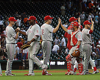 Phillies celebrate their 15-6 win against the Astros on Sunday May 25th at Minute Maid Park in Houston, Texas. Photo by Andrew Woolley / Four Seam Images.