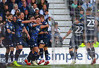 Leeds United players celebrate Kemar Roofe's opening goal<br /> <br /> Photographer Alex Dodd/CameraSport<br /> <br /> The EFL Sky Bet Championship Play-off  First Leg - Derby County v Leeds United - Thursday 9th May 2019 - Pride Park - Derby<br /> <br /> World Copyright © 2019 CameraSport. All rights reserved. 43 Linden Ave. Countesthorpe. Leicester. England. LE8 5PG - Tel: +44 (0) 116 277 4147 - admin@camerasport.com - www.camerasport.com