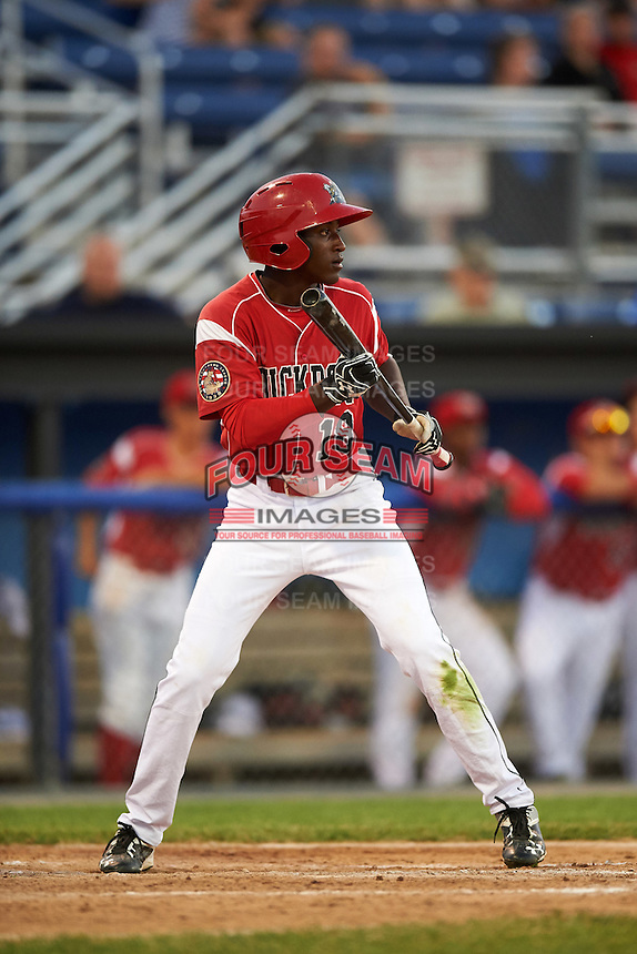 Batavia Muckdogs left fielder Isaiah White (18) squares to bunt during a game against the Brooklyn Cyclones on July 5, 2016 at Dwyer Stadium in Batavia, New York.  Brooklyn defeated Batavia 5-1.  (Mike Janes/Four Seam Images)