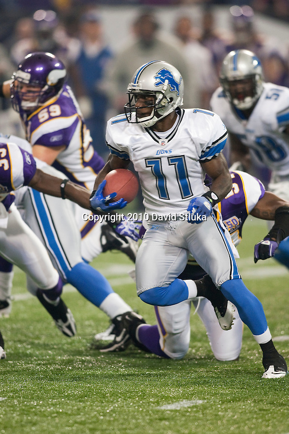 Detroit Lions kick returner/wide receiver Stefan Logan (11) returns a kick during an NFL football game against the Minnesota Vikings in Minneapolis, Minnesota on September 26, 2010. The Vikings won 24-10. (AP Photo/David Stluka)
