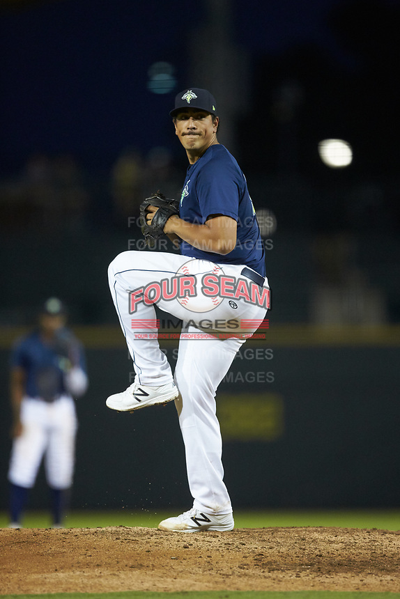 Columbia Fireflies starting pitcher Alec Kisena (36) in action against the Rome Braves at Segra Park on May 13, 2019 in Columbia, South Carolina. The Fireflies defeated the Braves 6-1 in game two of a doubleheader. (Brian Westerholt/Four Seam Images)