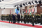 Palestinian President Mahmoud Abbas and his Austrian counterpart Alexander Van der Bellen inspect honor guard during a welcoming ceremony in the West Bank city of Ramallah on February 5, 2019. Photo by Thaer Ganaim