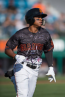 San Jose Giants second baseman Jalen Miller (2) hustles down the first base line during a California League game against the Lancaster JetHawks at San Jose Municipal Stadium on May 12, 2018 in San Jose, California. Lancaster defeated San Jose 7-6. (Zachary Lucy/Four Seam Images)