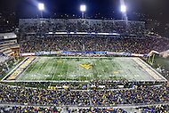 Morgantown, WV - NOV 19, 2016: A shot of the field during game between West Virginia and Oklahoma at Mountaineer Field at Milan Puskar Stadium Morgantown, West Virginia. (Photo by Phil Peters/Media Images International)