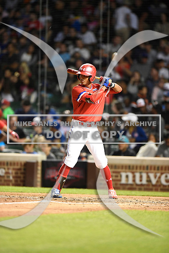 Kameron Ojeda (27) of St. John Bosco High School in La Mirada, California during the Under Armour All-American Game presented by Baseball Factory on July 29, 2017 at Wrigley Field in Chicago, Illinois.  (Mike Janes/Four Seam Images)