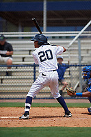 GCL Yankees East shortstop Ricky Surum (20) at bat during the second game of a doubleheader against the GCL Blue Jays on July 24, 2017 at the Yankees Minor League Complex in Tampa, Florida.  GCL Yankees East defeated the GCL Blue Jays 7-3.  (Mike Janes/Four Seam Images)
