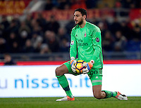 Calcio, Serie A: Roma vs Milan. Roma, stadio Olimpico, 12 dicembre 2016.<br /> Milan's goalkeeper Gianluigi Donnarumma holds the ball during the Italian Serie A football match between Roma and AC Milan at Rome's Olympic stadium, 12 December 2016.<br /> UPDATE IMAGES PRESS/Isabella Bonotto