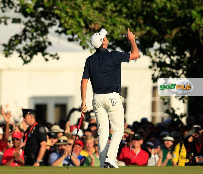 Justin Rose (ENG) wins the tournament at the end of Sunday's Final Round of the 113th U.S.Open National Championship held at Merion Golf Club, Ardmore, Philadelphia, Pennsylvania. <br /> 16th June 2013<br /> (Picture: Eoin Clarke www.golffile.ie)