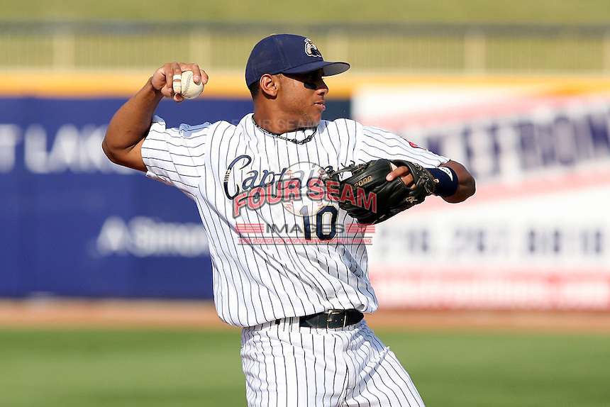 June 11th 2008:  Karexon Sanchez of the Lake County Captains, Class-A affiliate of the Cleveland Indians, during a game at Classic Park in Eastlake,OH.  Photo by:  Mike Janes/Four Seam Images