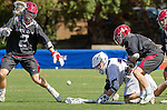 Manhattan Beach, CA 02-11-17 - Liam Villano (Santa Clara #4) and Givino Rossini (Loyola Marymount #7), Kaleb Pattawi (Santa Clara #14), Jonathan Van der Velden (Santa Clara #2) in action during the MCLA non-conference game between LMU (SLC) and Santa Clara (WCLL).  Santa Clara defeated LMU 18-3.