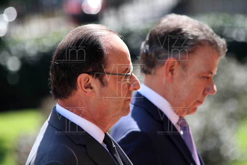 BOGOTA -COLOMBIA , 23- enero-2017.Official visit of the president of france François Hollande to colombia received by the president of colombia Juan Santos. Photo: VizzorImage / Felipe Caicedo / Staff