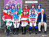 jockey group in the paddock before the Longines International Ladies Fegentri Amateur race at Delaware Park on 6/8/15