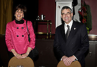 Montreal (QC) CANADA, March 22 2009 -   Michelle Courchesne., Quebec Education Minister<br />  ( L) and Pierre Boivin ,<br /> President,<br /> Club de hockey Canadien Inc. and Bell Centre speak about  The Canadiens, Culture and Community and n ot about the rumour of the Club and the Bell Centre beeing sold by its owner Gillet.