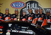 Jul. 1, 2012; Joliet, IL, USA: NHRA  pro stock driver Erica Enders celebrates with her crew after winning the Route 66 Nationals at Route 66 Raceway. Mandatory Credit: Mark J. Rebilas-