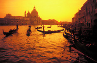 Italy,Venice, Gondolas on the Grand Canal at sunset