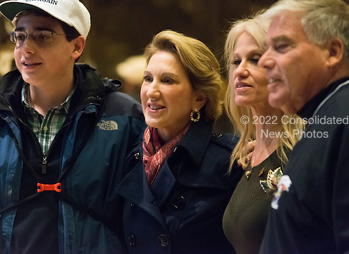 Carly Fiorina poses for a photo in the lobby of Trump Tower following her meeting with President-elect Donald Trump in New York, NY, USA on December 12, 2016. <br /> Credit: Albin Lohr-Jones / Pool via CNP