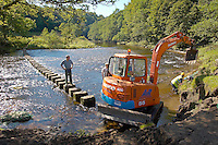 Repairing the river bank near the stepping stones, Whitewell, Lancashire.