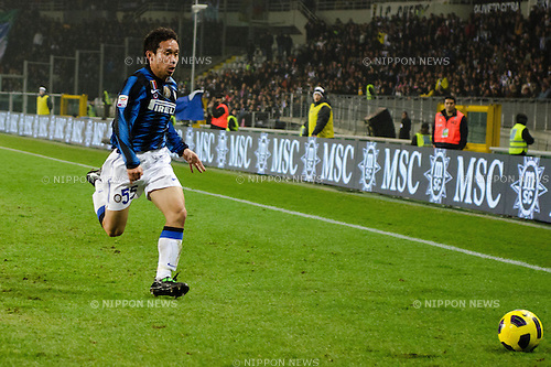 "Yuto Nagatomo (Inter), FEBRUARY 13, 2011 - Football : Italian ""Serie A"" match between Juventus 1-0 Inter Milan at Olympic Stadium, Turin, Italy, (Photo by Enrico Calderoni/AFLO SPORT) [0391]."