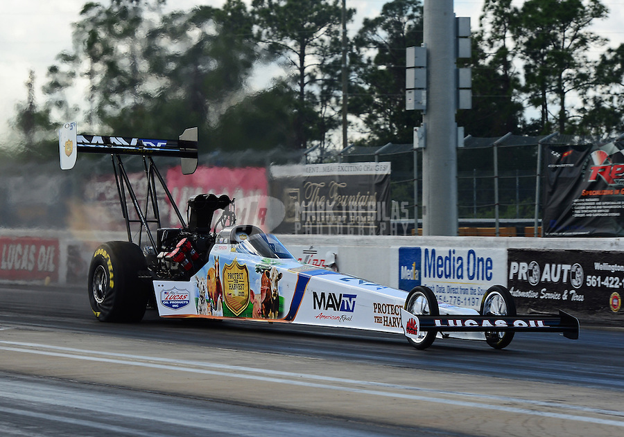Jan. 16, 2013; Jupiter, FL, USA: NHRA top top fuel dragster driver Brandon Bernstein during testing at the PRO Winter Warmup at Palm Beach International Raceway.  Mandatory Credit: Mark J. Rebilas-