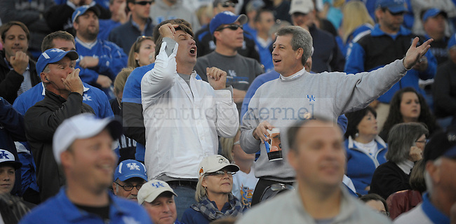 Fans upset with a call during the second half of the University of Kentucky football game against Ole Miss at Commonwealth Stadium in Lexington, Ky., on 11/5/11. Uk won the game 30-13. Photo by Mike Weaver | Staff