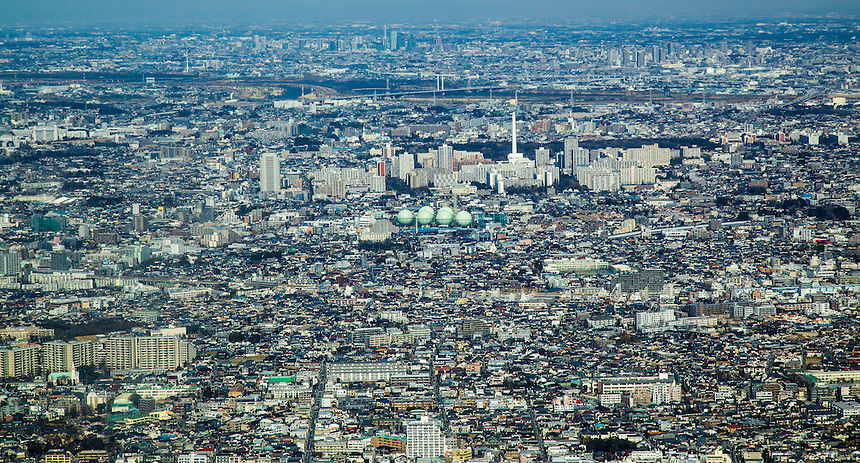 Tokyo cityscape with Gas holders.