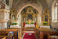 Italy, Alto Adige - Trentino (South Tyrol), Renon: village Vanga (Wangen) - parish church St. Peter (San Pietro)   Italien, Suedtirol (Alto Adige-Trentino), Ritten: Pfarrkirche St. Peter in Wangen am Ritten
