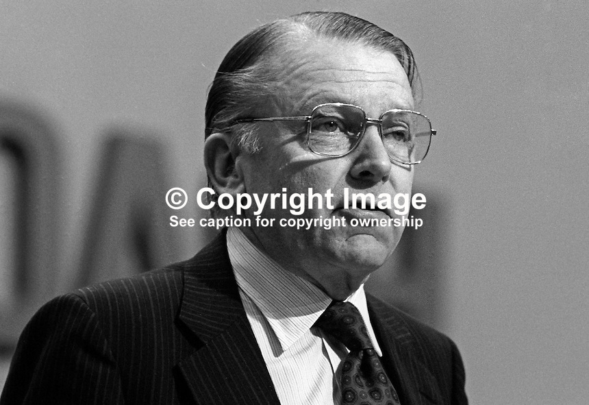 Francis Pym, MP, Conservative Party, UK, Foreign Secretary, at annual conference, Brighton. 19821000143FP4..Copyright Image from Victor Patterson, 54 Dorchester Park, Belfast, UK, BT9 6RJ.  Tel: +44 28 90661296  Mobile: +44 7802 353836.Email: victorpatterson@me.com Email: victorpatterson@gmail.com..For my Terms and Conditions of Use go to http://www.victorpatterson.com/ and click on Terms & Conditions