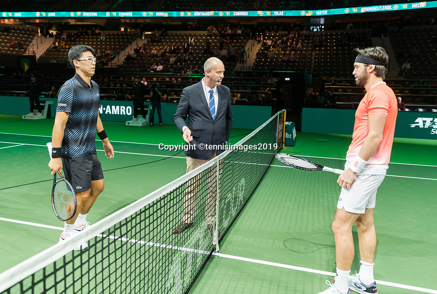 Rotterdam, The Netherlands, 11 Februari 2019, ABNAMRO World Tennis Tournament, Ahoy, first round singles: Hyeon Chung (KOR) - Nikoloz Basilashvili (GEO),<br /> Photo: www.tennisimages.com/Henk Koster