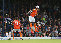 Blackpool's Armand Gnanduillet challenges for the ball<br /> <br /> Photographer Rob Newell/CameraSport<br /> <br /> The EFL Sky Bet Championship - Southend United v Blackpool - Saturday 10th August 2019 - Roots Hall - Southend<br /> <br /> World Copyright © 2019 CameraSport. All rights reserved. 43 Linden Ave. Countesthorpe. Leicester. England. LE8 5PG - Tel: +44 (0) 116 277 4147 - admin@camerasport.com - www.camerasport.com