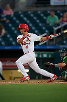 Palm Beach Cardinals center fielder Chase Pinder (4) bats during a Florida State League game against the Daytona Tortugas on April 11, 2019 at Roger Dean Stadium in Jupiter, Florida.  Palm Beach defeated Daytona 6-0.  (Mike Janes/Four Seam Images)