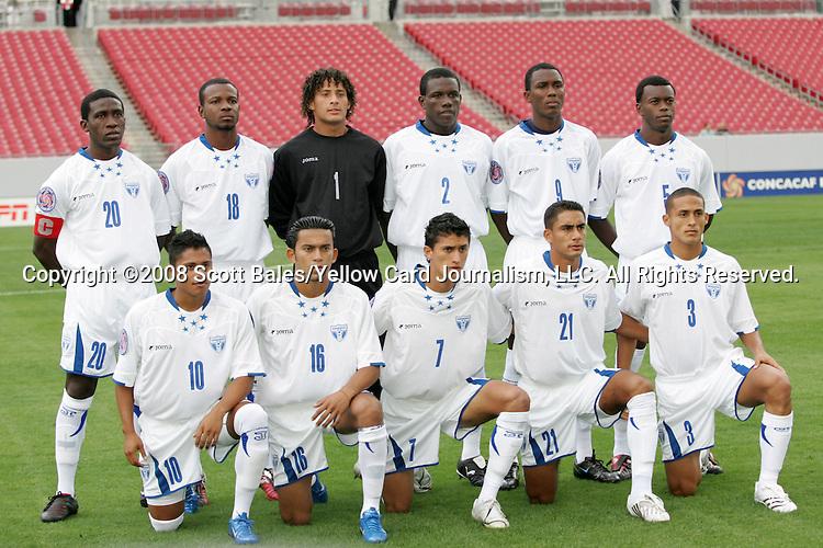 11 March 2008: Honduras's Starting Eleven.  Front row (l to r): Ramon Nunez (HON) (10), Marvin Sanchez (HON) (16), Rigoberto Padilla (HON) (7), Oscar Morales (HON) (21). David Alejandro Molina (HON) (3).  Back row (l to r): Hendry Thomas (HON) (20), Jose Cesar Guity (HON) (18), Kevin Hernandez (HON) (1), Quiarol Arzu (HON) (2), Jefferson Bernardez (HON) (9), Erick Norales (HON) (5). The Honduras U-23 Men's National Team defeated the Panama U-23 Men's National Team 1-0 at Raymond James Stadium in Tampa, FL in a Group A game during the 2008 CONCACAF's Men's Olympic Qualifying Tournament.