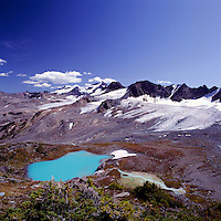 Purcell Mountains, Bugaboo Provincial Park, BC, British Columbia, Canada - Tarn and Mountain Peaks and Glaciers
