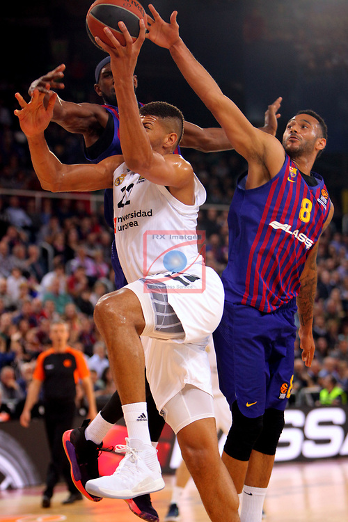 Turkish Airlines Euroleague 2018/2019. <br /> Regular Season-Round 24.<br /> FC Barcelona Lassa vs R. Madrid: 77-70. <br /> Walter Tavares, Chirs Singleton & Adam Hanga.