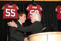 14 January 2007: Mary Gundelach presents an award to T.C. Ostrander at the annual football banquet at McCaw Hall in Stanford, CA.
