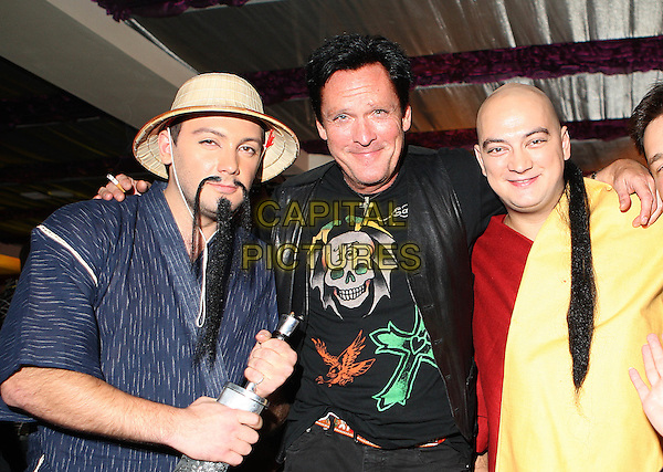 """guests & Michael Madsen.Producing the movie """"The Prophet: Mission of the fifth angel"""", Moscow, Russia..August 30th, 2007.half length black leather jacket top costume hat.CAP/PER/AL.©AL/PersonaStars/CapitalPictures"""