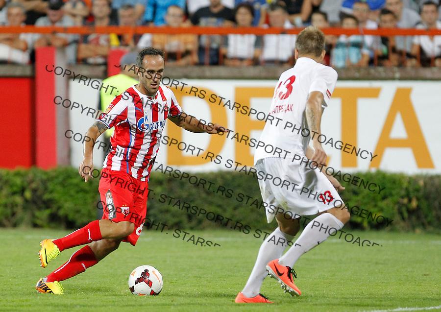 Fudbal Super liga season 2013-2014<br /> Napredak v Crvena Zvezda <br /> Dragan Mrdja and Nemanja Janicic<br /> Krusevac, 24.08.2013.<br /> foto: Srdjan Stevanovic/Starsportphoto &copy;