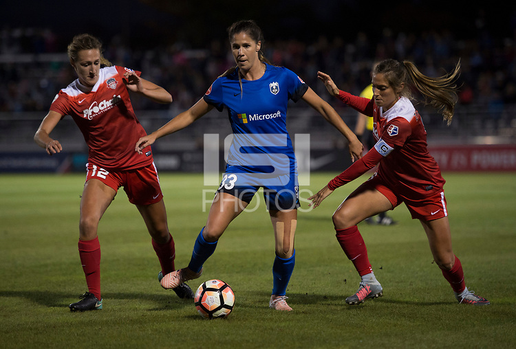 Boyds, MD - Saturday September 30, 2017: Katlyn Johnson, Morgan Proffitt and Shelina Zadorsky during a regular season National Women's Soccer League (NWSL) match between the Washington Spirit and the Seattle Reign FC at Maureen Hendricks Field, Maryland SoccerPlex.
