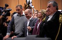 Raniero Busco, affiancato dal fratello Paolo, a sinistra, dalla moglie Roberta Milletari', al centro, e dagli avvocati Franco Coppi e Paolo Loria, destra, gioisce durante la lettura della sentenza che lo assolve dall'accusa per il delitto di Via Poma, al termine del processo presso la Corte d'Appello di Roma, 27 aprile 2012..UPDATE IMAGES PRESS/Riccardo De Luca