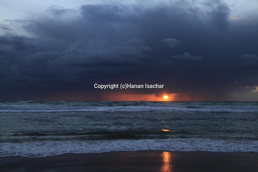 Israel, Sunset at the coast of Caesarea