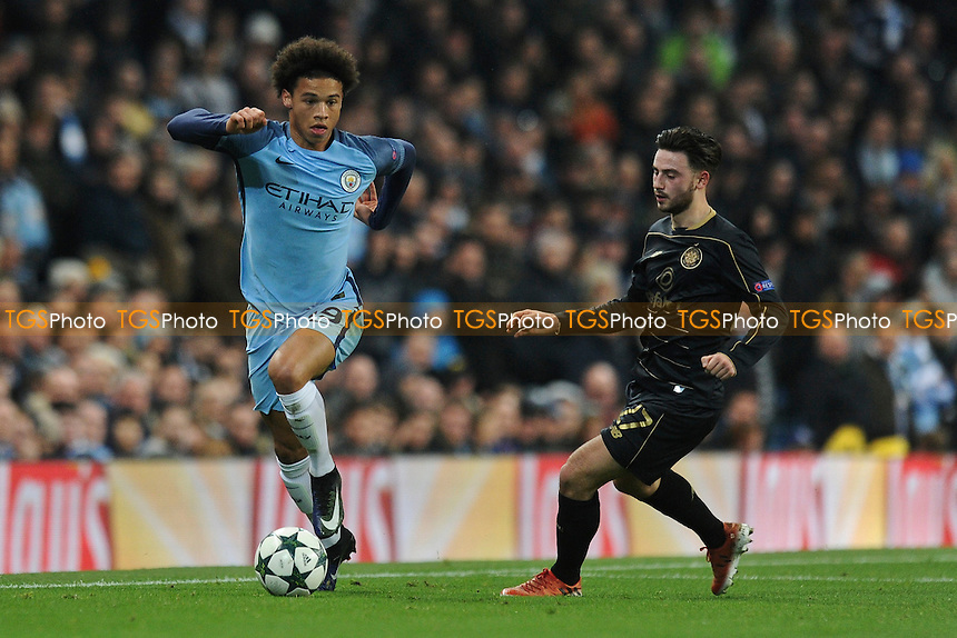 Leroy Sane of Manchester City holds up the ball from Patrick Roberts of Celtic during Manchester City vs Celtic, UEFA Champions League Football at the Etihad Stadium on 6th December 2016