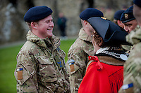 Wednesday 26 March 2014<br /> Pictured: Mayor of St Davids Glenys James talks to one of the soldiers<br /> Re: 236 Signal Squadron ( part of 14 Signal regiment who are based at Cawdor Barracks in Brawdy Parade through the streets of  St.Davids Pembrokeshire led by Haverfordwest Air Training Corps Band and are then Presented with medals