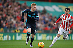 Kevin De Bruyne of Manchester City takes on Bojan of Stoke - Football - Barclays Premier League - Stoke City vs Manchester City - Britannia Stadium Stoke - December 5th 2015 - Season 2015/2016 - Photo Malcolm Couzens/Sportimage