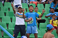 MONTERIA - COLOMBIA, 22-07-2018:  Hinchas del Jaguares animan a su equipo durante partido entre Jaguares FC y Once Caldas por la fecha 1 de la Liga Águila II 2018 jugado en el estadio Municipal de Montería. / Fans of Jaguares cheer for their team during the match between Jaguares FC and Once Caldas for the date 1 of the Liga Aguila II 2018 at the Municipal de Monteria Stadium in Monteria city . Photo: VizzorImage / Andres Felipe Lopez / Cont