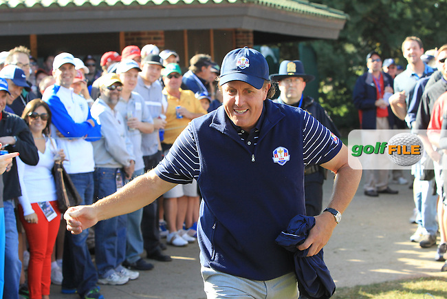 USA Team Player Phil Mickelson makes his way to the 12th tee during Saturday Morning Foursomes Matches of the 39th Ryder Cup at Medinah Country Club, Chicago, Illinois 29th September 2012 (Photo Eoin Clarke/www.golffile.ie)