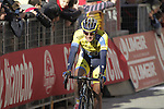 Roman Kreuziger (CZE) Tinkoff Saxo crosses the finish line on Il Campo in Siena at the end of the 2014 Strade Bianche race over the white dusty gravel roads of Tuscany, Italy. 8th March 2014.<br /> Picture: Eoin Clarke www.newsfile.ie