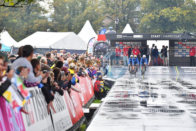 Italian team off the start ramp during the Team Time Trial Mixed Relay in Harrogate of the UCI World Championships 2019 running from Harrogate to Harrogate, England. 22nd September 2019.<br /> Picture: Simon Wilkinson/SWPix.com   Cyclefile<br /> <br /> All photos usage must carry mandatory copyright credit (© Cyclefile   Simon Wilkinson/SWPix.com)