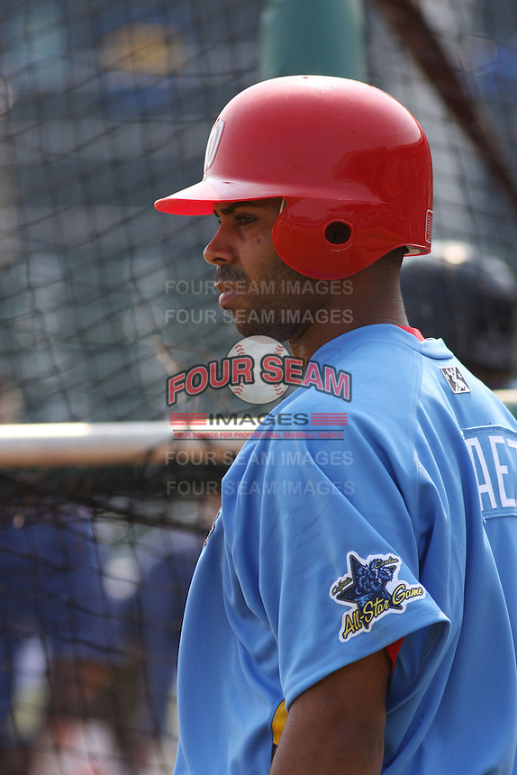 Edgardo Baez of the Potomac Nationals at the Carolina/California All-Star game  at BB&T Coastal Field in Myrtle Beach, SC on June 24, 2008