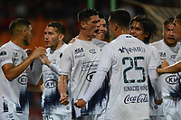 MEDELLÍN- COLOMBIA, 10-05-2018:César Villagra (Centro) jugador del Sol de América (PAR) celebra su gol contra el Independiente Medellín (Col) durante partido por la primera ronda ,  etapa 2 de 2 de la Copa Sudamericana  2018 jugado en el estadio Atanasio Girardot de la ciudad de Medellín. / Cesar Villagra player of  Sol de America (PAR) celebrates his goal agaisnt of ndependiente Medellin (Col)  during the match for the Sudamerica Cup  2018 played at the Atanasio Girardot Stadium in Medellin city. Photo: VizzorImage / León Monsalve / Contribuidor