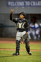 Bristol Pirates catcher Gabriel Brito (52) signals to the defense during a game against the Bluefield Blue Jays on July 26, 2018 at Bowen Field in Bluefield, Virginia.  Bristol defeated Bluefield 7-6.  (Mike Janes/Four Seam Images)