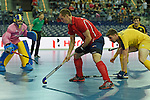Leipzig, Germany, February 08: Sergey Spichkovskiy #11 of Russia tries to score during the placement match (5th / 6th) between Sweden (yellow) and Russia (red) on February 8, 2015 at the FIH Indoor Hockey World Cup at Arena Leipzig in Leipzig, Germany. Final score 1-3 (1-0). (Photo by Dirk Markgraf / www.265-images.com) *** Local caption ***